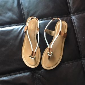 Nine West Gold, white, tan sandals